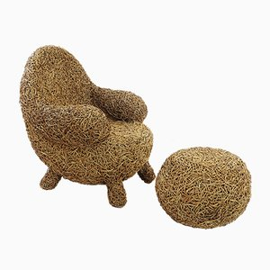 Vintage Rattan Armchair and Ottoman