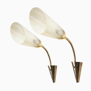 German Brass & Glass Sconces, 1950s, Set of 2