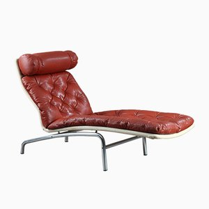 Chaise Longue with a Mat Chromed Steel Frame and Red Leather by Arne Vodder for Erik Jørgensen, 1970s