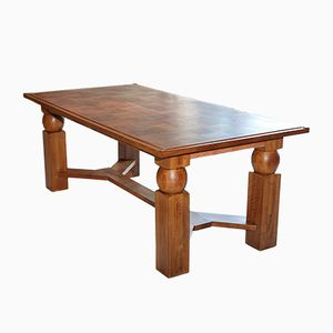 Extendable Natural Wood Dining Table by Baptistin Spade, 1950s