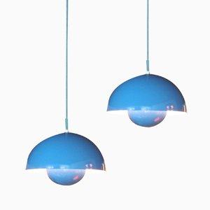 Blaue Flower Pot Hängelampe von Verner Panton für Louis Poulsen, 2er Set