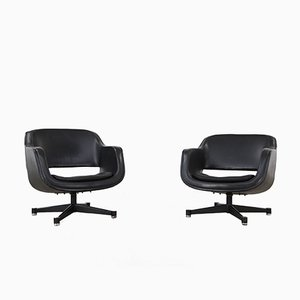 Finnish Swivel Club Chairs by Olli Mannermaa for Asko, 1960s, Set of 2