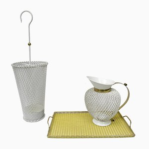 Mid-Century White & Yellow Metal & Brass Umbrella Stand, Tray, & Jug