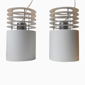White Hydra 1 Minimalist Pendant Lamps by Jo Hammerborg for Fog & Morup, 1970s, Set of 2