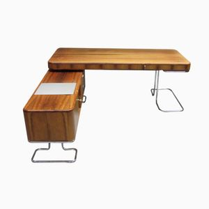 Rosewood & Tubular Steel Desk with Sideboard by H. Könecke for Tecta, 1960s