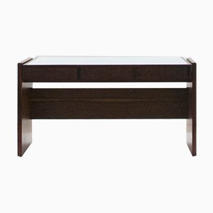 Rosewood and White Glass Top Desk by Joaquim Tenreiro, 1960s