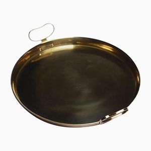 Brass Round Tray with Handles by Gunnar Ander for Ystad Metall, 1960s