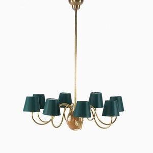 Swedish Mahogany and Brass Chandelier by Hans Bergström for Ateljié Lyktan, 1950s