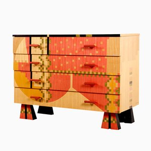 Colorful Wooden Dresser by Alessandro Mendini for Zanotta, 1980s