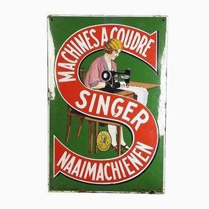 Señal publicitaria belga para máquinas de coser Singer de Emaillerie Belge, años 20