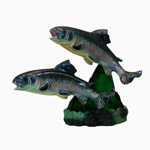 Ceramic Trout Lamp by S. R. Bonome, 1950s
