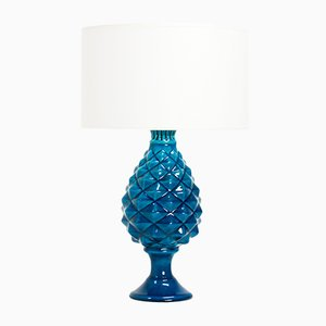 French Light Blue Cracked Ceramic Table Lamp by Pol Chambost, 1970s