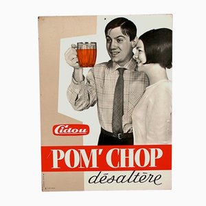 Vintage French Metal Advertisement for Cidou Pom´Chop