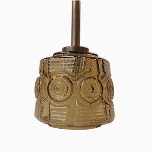 Danish Mid-Century Glass & Brass Pendant Lamp from Vitrika, 1960s