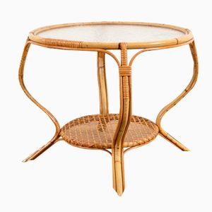 Vintage Rattan and Glass Coffee Table, 1950s