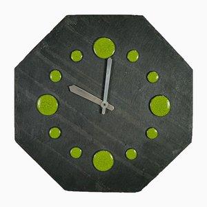 Horloge Murale Vintage Octogonale en Ardoise, 1960s