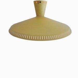 Hellgelbe Industrielle Deckenlampe von Louis Kalff für Philips, 1950er