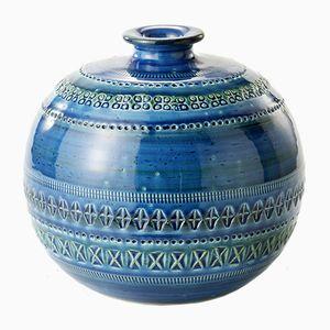 Blaue Runde Vase von Aldo Londi für Bitossi