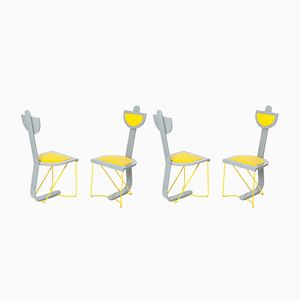 Grey and Yellow Chairs, Set of 4