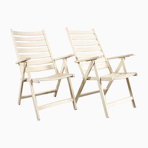 White Wooden Garden Chairs, Set of 2