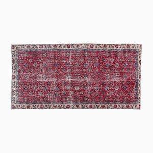 Überfärbter Teppich in Rot & Rosa, 1960er
