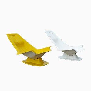 Fiberglass Garden Chairs by Charles Zublena for Les Plastiques de Bourgogne, 1970s, Set of 2