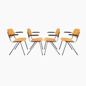 Mid-Century School Chairs with Bakelite Armrests, Set of 4