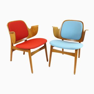 Red & Blue Beech Armchairs by Hans Olsen, Set of 2
