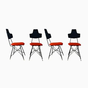 Italian Black & Red Dining Chairs, Set of 4