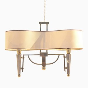 Mid-Century French Bicolored Brass Chandelier, 1960s