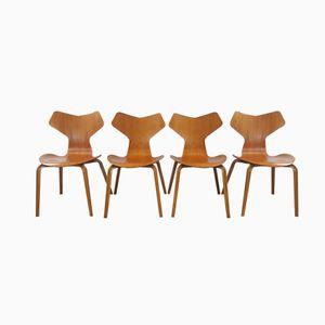 Model 3130 Grand Prix Chairs by Arne Jacobsen for Fritz Hansen, 1967, Set of 4