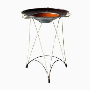 Französischer Mid-Century Beistelltisch mit String Rahmen und Emaillierter Aluminium Schale, 1950er