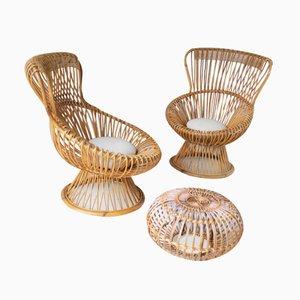 Margherita Chairs and Ottoman Set by Franco Albini for Bonacina, 1955