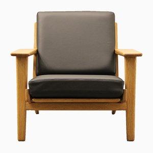 Black Leather GE 290 Easy Chair by Hans J. Wegner for Getama