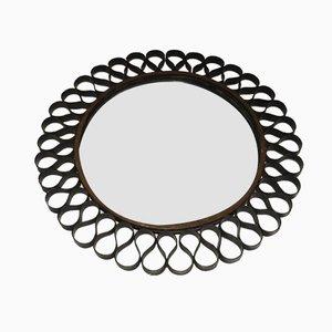 Specchio Mid-Century in metallo laccato nero e oro