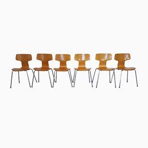 3103 Beech T Chairs by Arne Jacobsen for Fritz Hansen, 1981, Set of 6