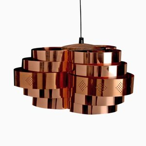 Danish Copper Pendant Lamp by Werner Schou for Coronell Electro, 1960s