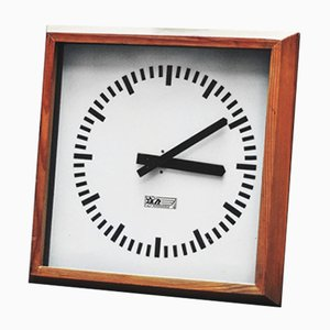 Polish Wooden Model 1019 Wall Station Clock from KZŁ Bydgoszcz, 1970s