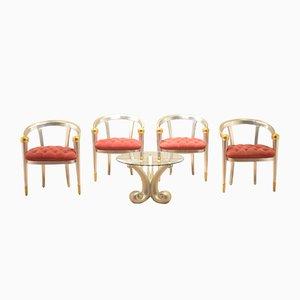 Italienischer Vintage Couchtisch mit Stühlen aus Blattgold & Blattsilber