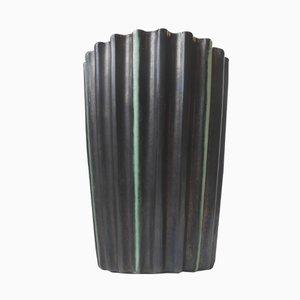 Geriffelte Dänische Art Deco Steingut Vase in Schwarz & Grün von Michael Andersen, 1930er