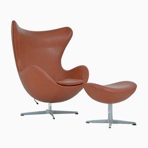 Egg Chair & Footstool by Arne Jacobsen for Fritz Hansen