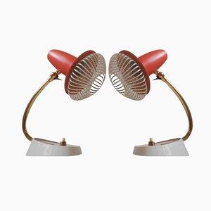 Lampes de Chevet Modernistes Vintage Rouges Ajustables, Suisse, Set de 2