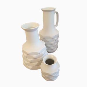 Deutsche Mid-Century Op Art Biskuitporzellan Vasen von Winterling Schwarzenbach, 3er Set