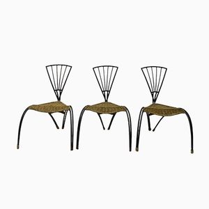 French Wrought Iron & Rattan Chairs, Set of 3