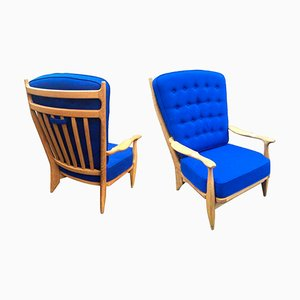 Edouard Armchairs by Guillerme et Chambron for Votre Maison, 1975, Set of 2