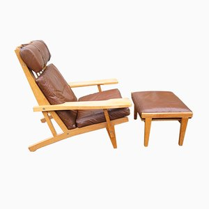 GE 375 High Back Lounge Chair & GE 370S Footstool by H. J. Wegner for Getama, 1970s