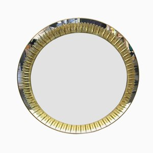 Italian Round Wall Mirror from Crystal Arte, 1970s