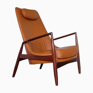 Swedish Seal Leather Easy Chair by Ib Kofod-Larsen for OPE, 1960s