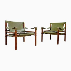 Swedish Sirocco Green Easy Chairs from Arne Norell, Set of 2