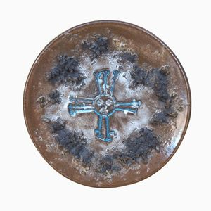 Lava Decorative Plate with a Sun Symbol from Glit Iceland, 1970s